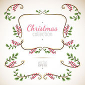 Christmas branches and leaves — Stock Vector