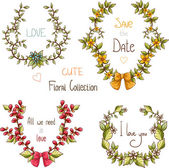 Floral collection of wreaths for invitations — Stock Vector