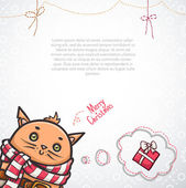Christmas card with cat — Stock Vector