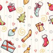 クリスマスのシンボルとのシームレスなパターン — ストックベクタ