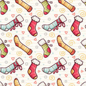 Seamless pattern with Christmas stocking socks — Vector de stock