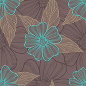 Line flowers pattern — Stock Vector