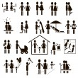 Family icon set in black — Stock Vector