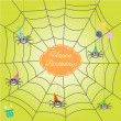 Greeting card with funny cartoon spider — Stok Vektör