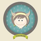 Zodiac signs collection. Cute horoscope - TAURUS. — Wektor stockowy