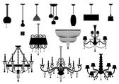 Sets of silhouette Chandelier and lamp — Vecteur