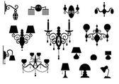 наборы силуэт лампы и люстры — Cтоковый вектор