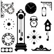 Clock and watch collection, black interior element — Stock Vector #49132181