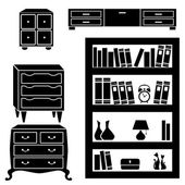 Set silhouettes of cupboard, chests and bookshelf — Stock Vector