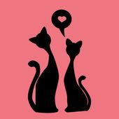 Black silhouettes of Two lovely kittens, vector — Stockvector