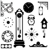 Clock and watch collection, black interior element — Stock Vector