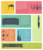 Infographic of interior home furniture icons — Vettoriale Stock