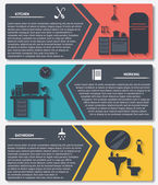 Info graphic of house interior vector banners — 图库矢量图片