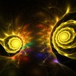 Abstract orange and yellow fractal background techno swirls — Stock Photo