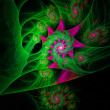 Spiral green colorful abstract space fractal with lights — Stock Photo #32539569