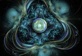 Abstracto fractal fondo negro con perlas como centro — Foto de Stock