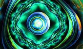 Frattale di sfondo verde fantasia dettagliata illustrazione — Foto Stock