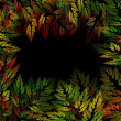 Frame of abstract autumn leaves on black background in green, go — Stock Photo