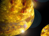 Abstract yellow fractal space style illustration — Stock Photo