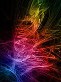 Abstract swirls rainbow colors fractal on black background — Stock Photo
