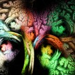 Abstract tree fractal colorful illustration isolated  on black — Stock Photo