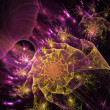 Violet fractal background illustration colorful on black backgro — Stok fotoğraf