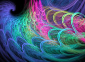 Blue, green and magenta fractal swirl on black background — Stock Photo