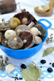 Raw mushrooms and set of spices for pickling — Stock Photo