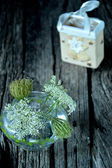 White flowers and Christmas symbol from ceramics — Stock Photo