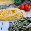 Italian Ingredients: Tagliatelle pasta. Close-up. — Stock Photo