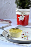 Flan with ricotta and green peas. — Stock Photo