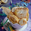 Chiacchiere, carnival fried pastries. Italian food. — Stockfoto
