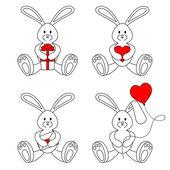 Contour valentine bunnies — Stock Vector