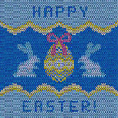 Knitted happy easter card — Wektor stockowy
