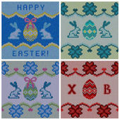 Set of the knitted easter backgrounds — Stock Vector