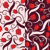Seamless pattern with red tulips — Stock Vector