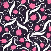 Patrones sin fisuras con tulipanes rosa — Vector de stock