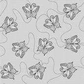 Black lace seamless pattern with butterflies on white background — Stock Vector
