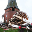 Destroyed windmill in storm 2013 — 图库照片