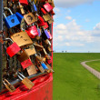 Padlocks on the grid — Stock Photo