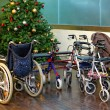 Wheelchair for a Xmas tree — Stock Photo