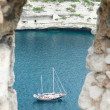 Yacht in porthole in Bonifacio, Corsica — Stock Photo #38160067