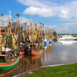 Crabber boats and ship in Greetsiel harbor - northern of Germany — Stock Photo