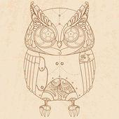 Steam punk owl. — Stock Vector