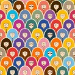 Seamless pattern with funny people faces. — Imagen vectorial