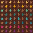 Stock Vector: Colorful paper cranes seamless pattern.