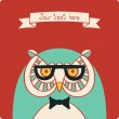 Owl vector card. — Stock Vector