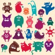 Cute monsters set. Funny fantasy creatures, colorful — Stock Vector #34044961