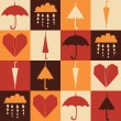 Autumn rainy retro pattern — Stock Vector