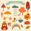 Autumn Elements Set - for scrapbook, design, invitation, greetings — Stock Vector